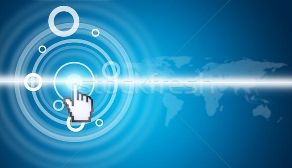 Imleç sanal ekran dünya haritası mavi Stok fotoğraf © cherezoff