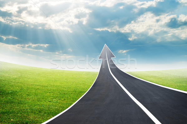 Road going up as an arrow Stock photo © cherezoff