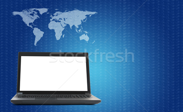 Laptop with world map and figure on blue Stock photo © cherezoff
