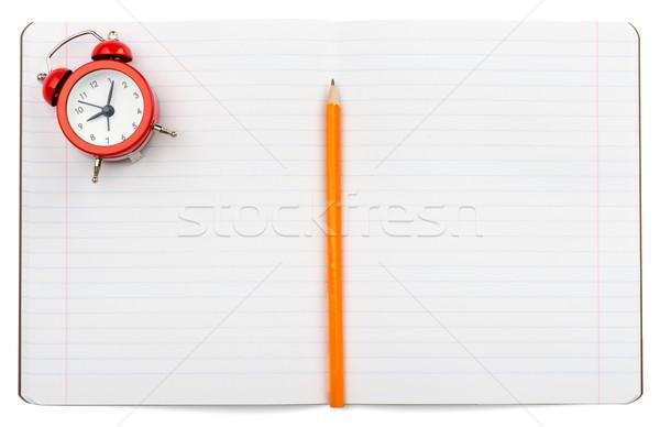 Сток-фото: открытых · ноутбук · будильник · изолированный · белый