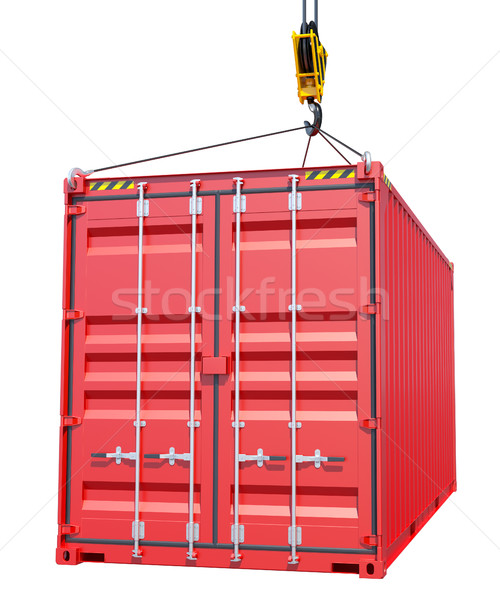 Crane hook and red cargo container Stock photo © cherezoff
