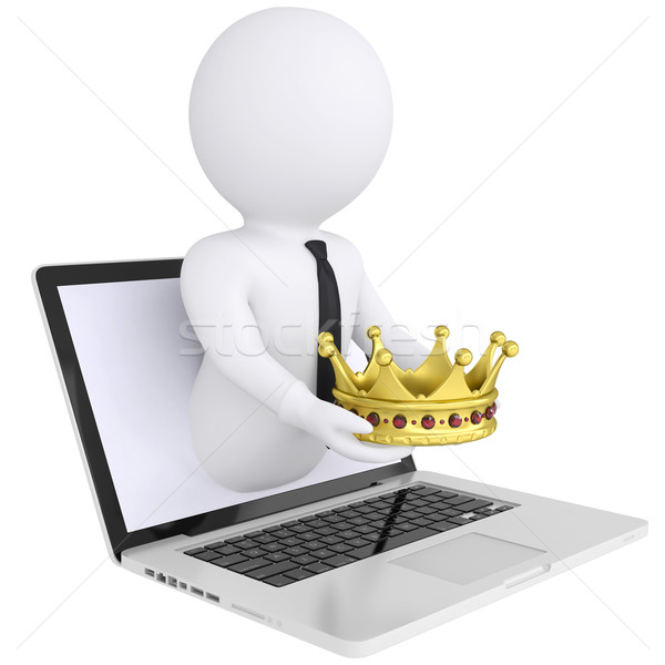 3d man out of the computer holds a golden crown Stock photo © cherezoff