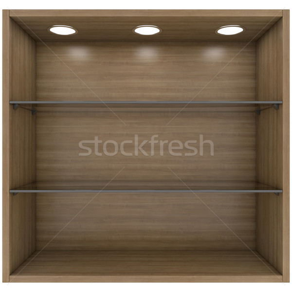 Wooden and glass shelves with built-in lights Stock photo © cherezoff