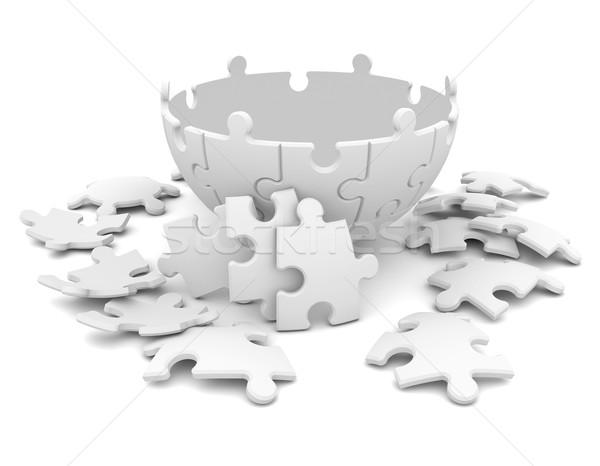 Küre 3d render yalıtılmış beyaz Metal top Stok fotoğraf © cherezoff