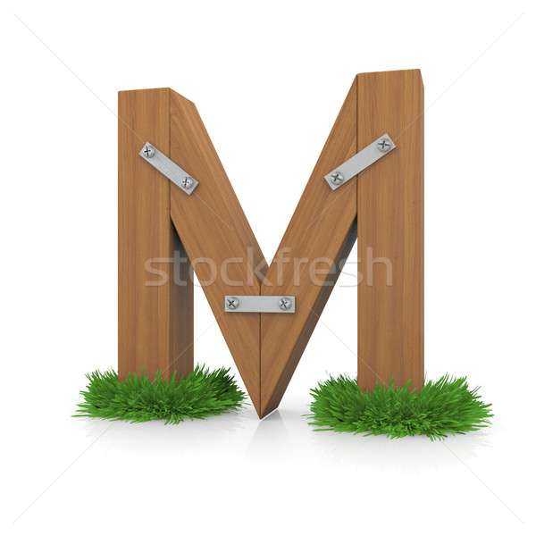 Wooden letter M in the grass Stock photo © cherezoff
