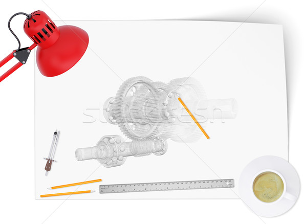Photo stock: Bureau · ingénieur · dessin · lampe · outils · tasse