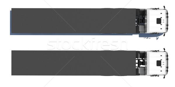 Teherautó nyerges pótkocsi vágány felső kilátás izolált Stock fotó © cherezoff