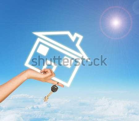 Foto stock: Femenino · mano · casa · icono · claves