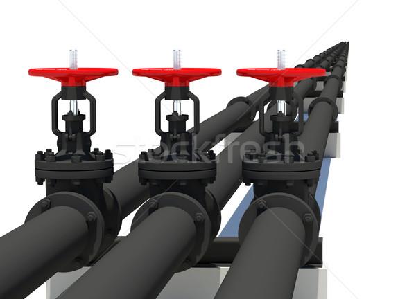 Tres negro tuberías aislado blanco metal Foto stock © cherezoff