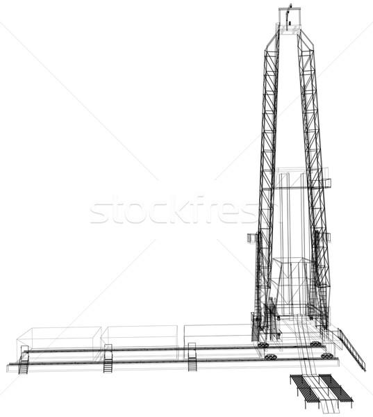 Piattaforma petrolifera dettagliato isolato bianco vettore Foto d'archivio © cherezoff