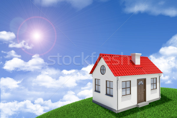 White house with red roof on green grassy hill. Background sun shines brightly, clouds Stock photo © cherezoff