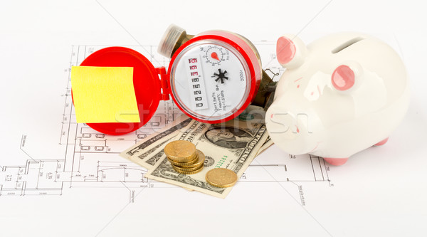 Water meter with piggy bank and coins on draft Stock photo © cherezoff