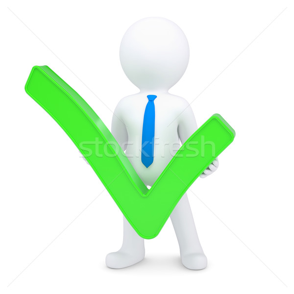 White 3d man with a green tick Stock photo © cherezoff