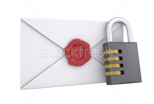 Combination lock and white envelope Stock photo © cherezoff