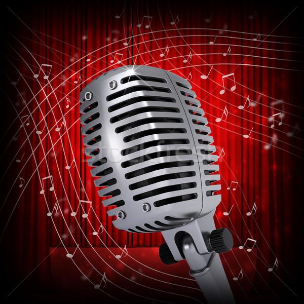 Music notes around studio microphone Stock photo © cherezoff