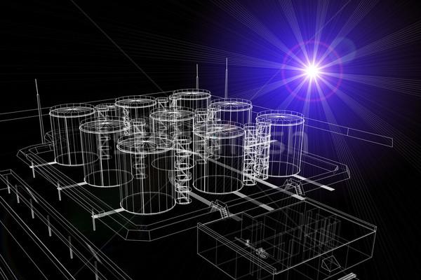 Wireframe industrial luz escuro construção fundo Foto stock © cherezoff