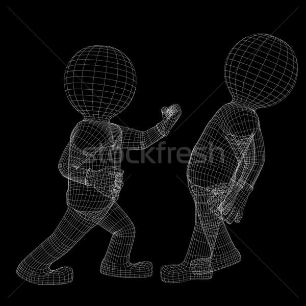 Kettő drótváz férfiak harc menekülés izolált Stock fotó © cherezoff