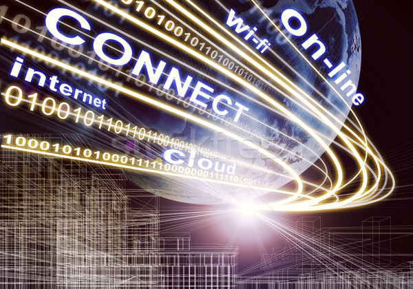 Earth, wire-frame building, ight beams, digits and words like on-line , wi-fi etc. on dark backgroun Stock photo © cherezoff