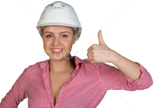 Woman in hard hat showing thumb-up Stock photo © cherezoff