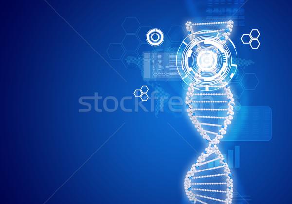 人間 DNA鑑定を 白 リング 六角形 情報 ストックフォト © cherezoff