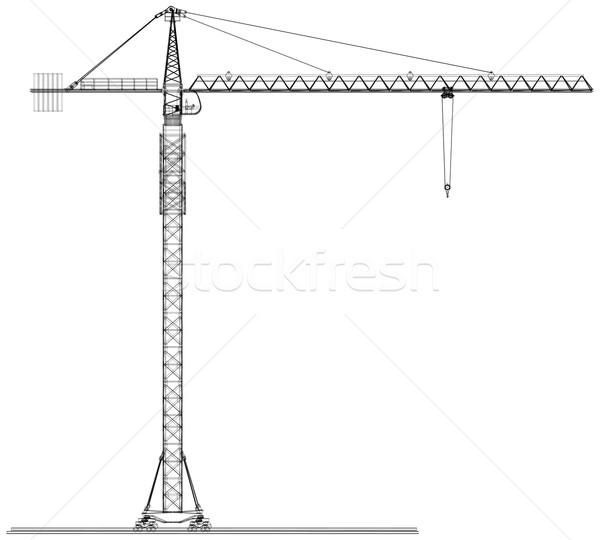 Tower construction crane. Vector rendering of 3d Stock photo © cherezoff
