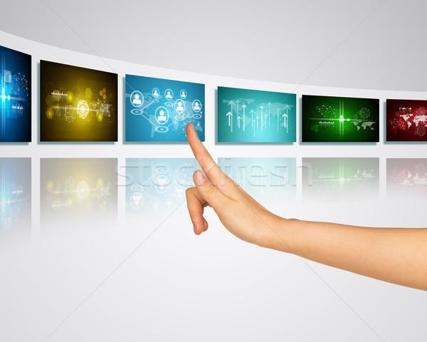 Stock fotó: Kommunikáció · kapcsolat · ujj · egy · virtuális · emberek