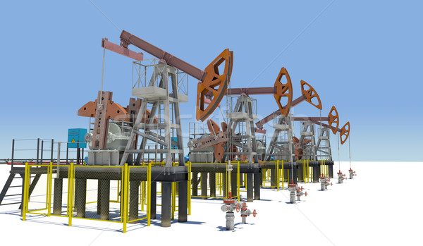 Oil pump-jacks on white plane Stock photo © cherezoff