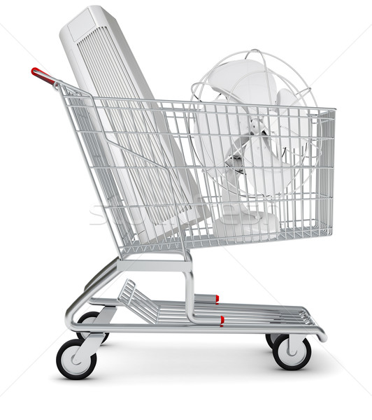 Fan and air conditioner in shopping cart Stock photo © cherezoff