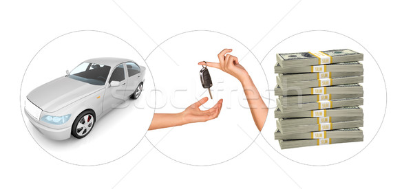 White car with hands and bundle of money Stock photo © cherezoff