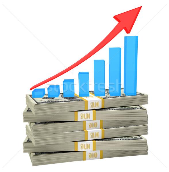 Graph on bundle of money Stock photo © cherezoff