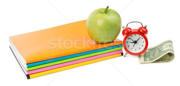 Friss alma jegyzetfüzetek pénz izolált fehér Stock fotó © cherezoff