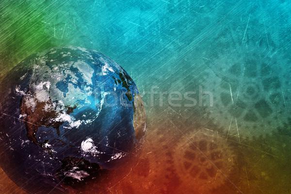 Terre monde Cog roue technologie Photo stock © cherezoff