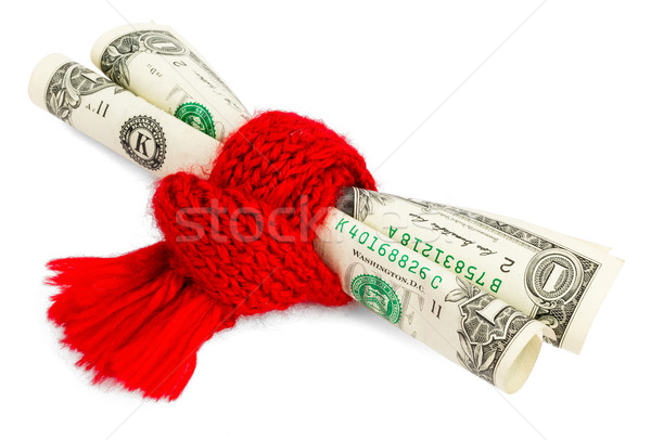Pauvres dollar rouge écharpe roulé Photo stock © cherezoff
