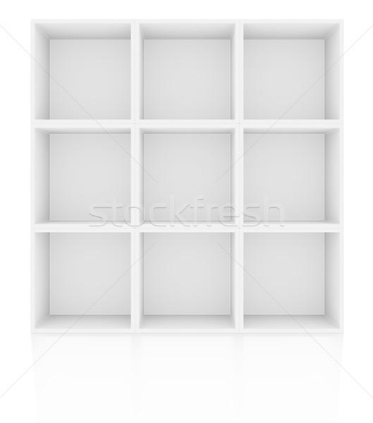 üres polcok fehér padló tükröződés 3d illusztráció Stock fotó © cherezoff