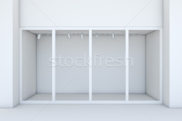 Shopfront with large windows. White store facade Stock photo © cherezoff