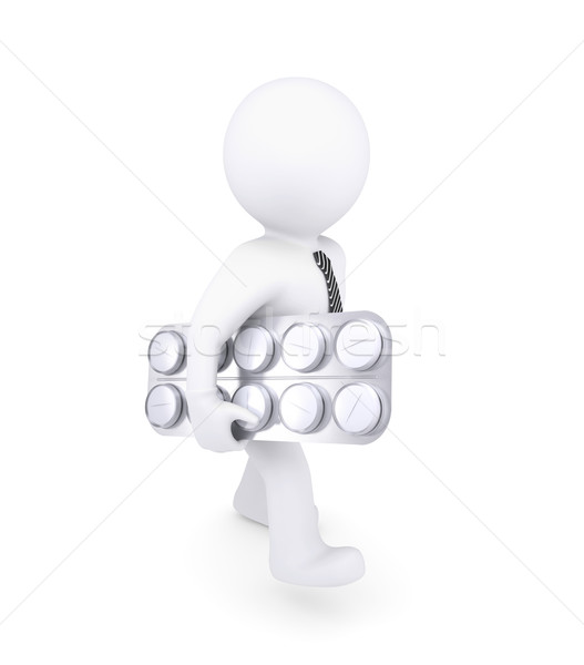 Blanke man pack arm geïsoleerd geven witte Stockfoto © cherezoff
