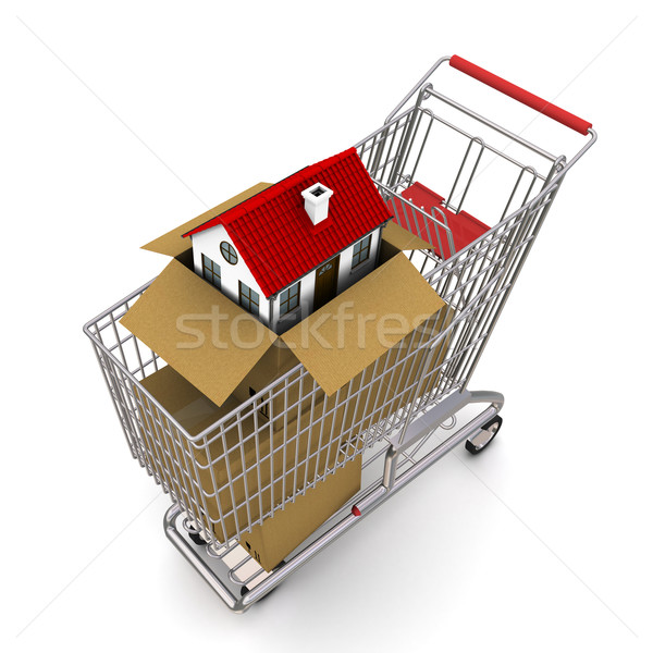 house in an open cardboard box, standing on trolley Stock photo © cherezoff