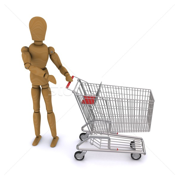 The wooden man shows up on standing beside the cart. 3D rendering Stock photo © cherezoff