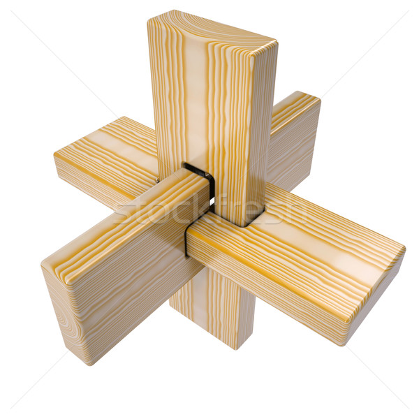 Stock photo: Wooden abstract 3D shape