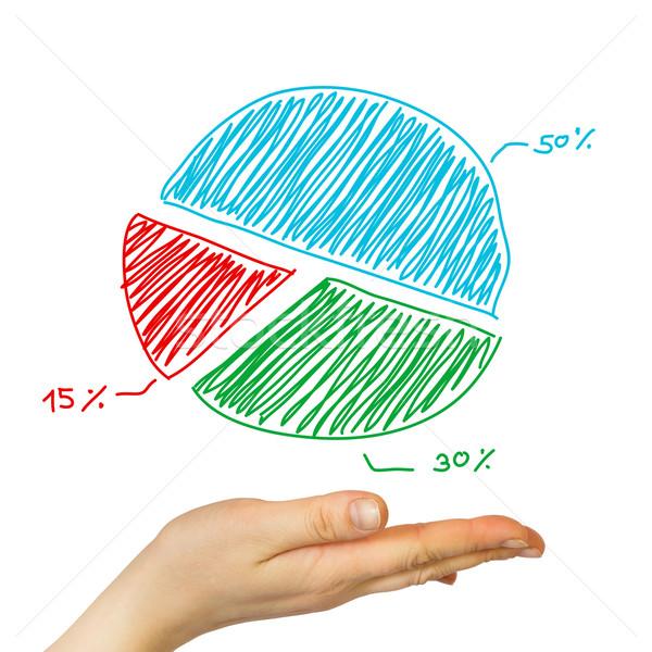 Palm hand cirkeldiagram business mobiele scherm Stockfoto © cherezoff