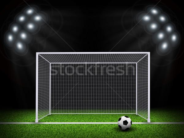 футбольным мячом ворот области ночь футбола арена Сток-фото © cherezoff