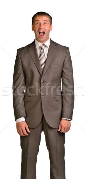 радостный бизнесмен изолированный белый бизнеса улыбка Сток-фото © cherezoff