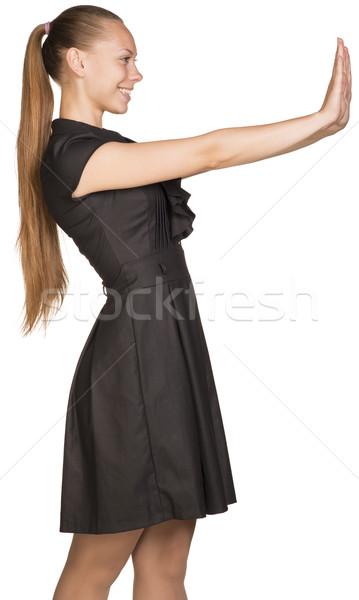 Isolé jeunes femme imaginaire Photo stock © cherezoff