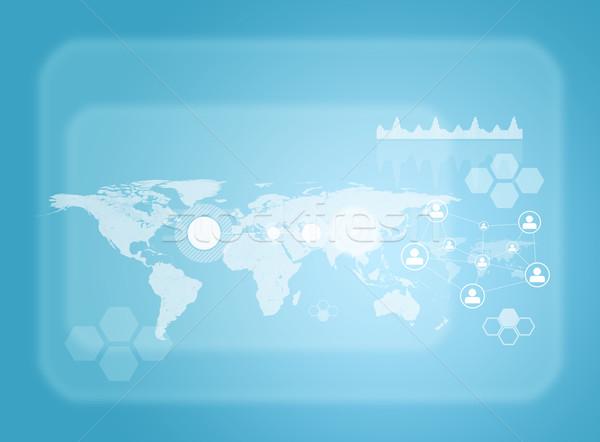 Przezroczysty mapie świata sieci inny elementy technologii Zdjęcia stock © cherezoff