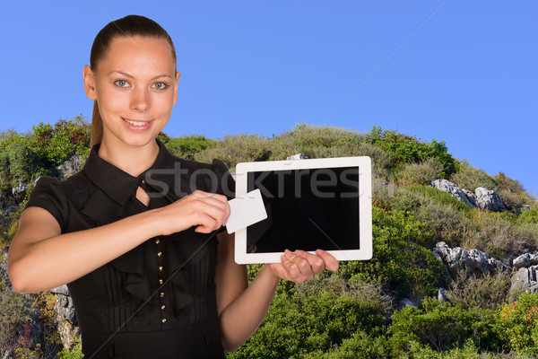 Beautiful businesswoman holding tablet PC. Blue sky and green hillside as backdrop Stock photo © cherezoff