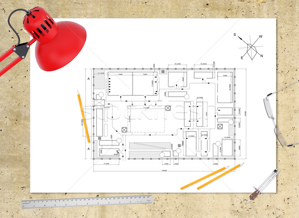 Techniques plan bâtiment travail souverain crayons Photo stock © cherezoff