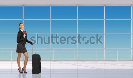 Belo empresária vestir alegremente as mãos levantadas para cima Foto stock © cherezoff