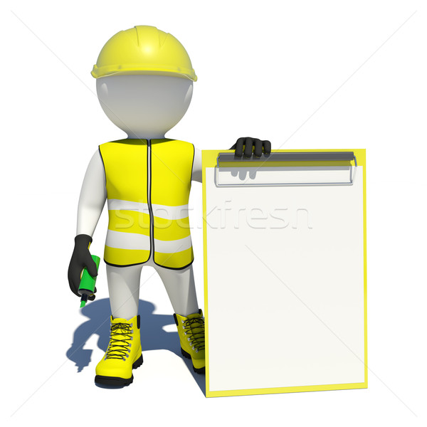 Stock photo: White man in special clothes, shoes and helmet holding clipboard, soft-tip pen green