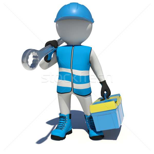 White man in overalls holding tool box and wrench on his shoulder. Isolated Stock photo © cherezoff