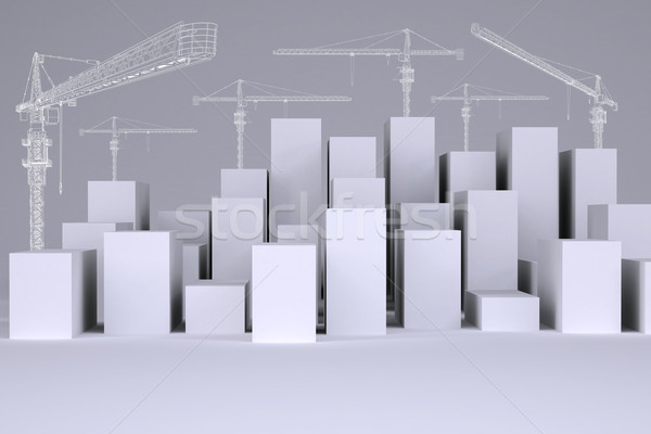White cubes with wire-frame tower cranes Stock photo © cherezoff